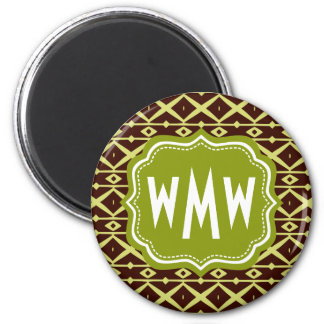 Brown Lime Trellis Pattern with Custom Monogram 2 Inch Round Magnet