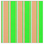 [ Thumbnail: Brown, Lime & Turquoise Pattern Fabric ]