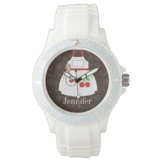 Brown lindo personalizado y delantal rojo de la relojes de pulsera