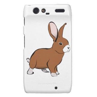 Brown lindo y conejo de conejito blanco droid RAZR fundas