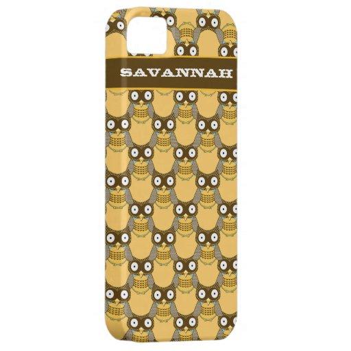 Brown lindo y el modelo amarillo del búho eligen c iPhone 5 protector