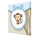 Brown lindo y mono azul impresiones en lienzo estiradas