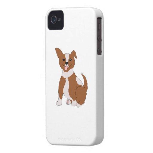 Brown lindo y perrito blanco iPhone 4 Case-Mate cobertura