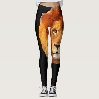 Brown Lion Head Print 2 Leggings