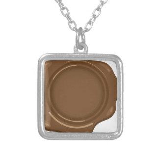 Brown liquid wax seal vintage square pendant necklace