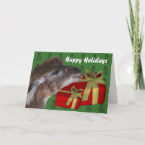 Brown Llama Farm Animal Christmas Holiday Card