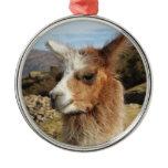 Brown Llama Head Peru South America Christmas Ornament