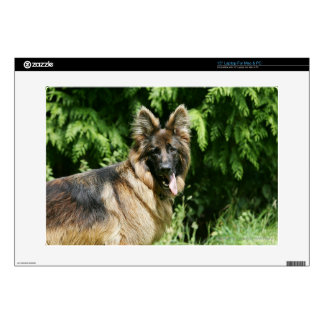 Brown Long Haired German Shepherd 1 Decal For Laptop