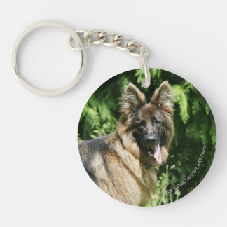 Brown Long Haired German Shepherd 1 Double-Sided Round Acrylic Keychain