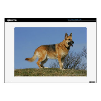 "Brown Long Haired German Shepherd 2 Decals For 15"" Laptops"