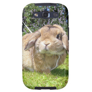 Brown lopped ear rabbit with lavender samsung galaxy s3 cases