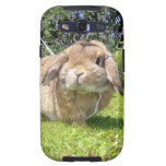 Brown lopped ear rabbit with lavender galaxy SIII cases