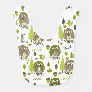 Brown + Los búhos verdes de Chevron personalizaron Babero De Bebé