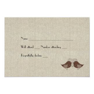 Brown Love Birds Linen Look rsvp with envelopes Card