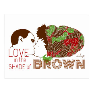 BROWN LOVE in GREEN & RED Postcard