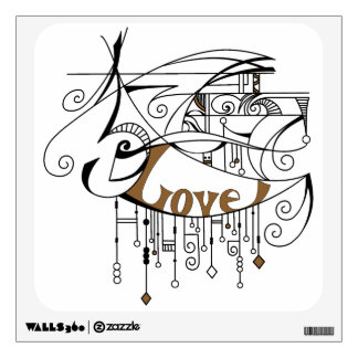 Brown Love In Lines and Dangles Wall Sticker