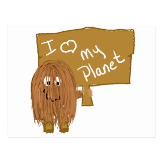 Brown love my planet postcard