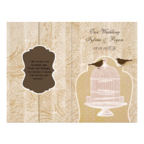 brown lovebirds  bircage bi fold Wedding program