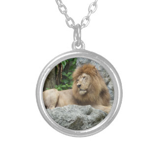 brown Male Lion with large mane Lays on Rock ledge Round Pendant Necklace