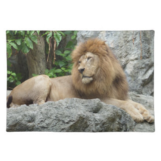 brown Male Lion with large mane Lays on Rock ledge Placemat