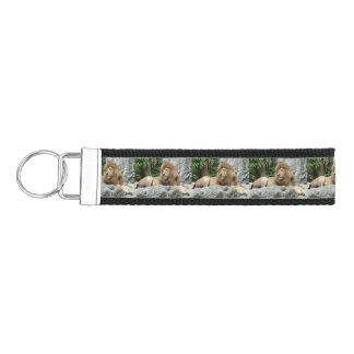 brown Male Lion with large mane Lays on Rock ledge Wrist Keychain