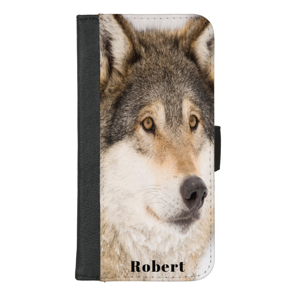 Brown male wolf face add a name iPhone 8/7 plus wallet case