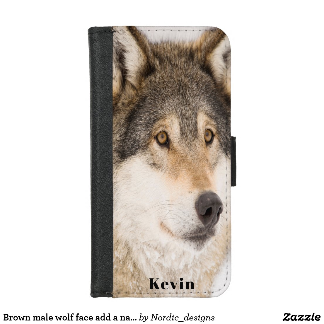 Brown male wolf face add a name iPhone 8/7 wallet case