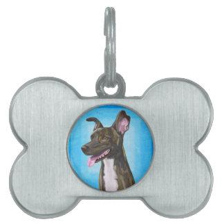 Brown manchó al pastor con los oídos grandes placas de mascota