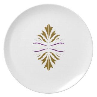 Brown mandala on white melamine plate