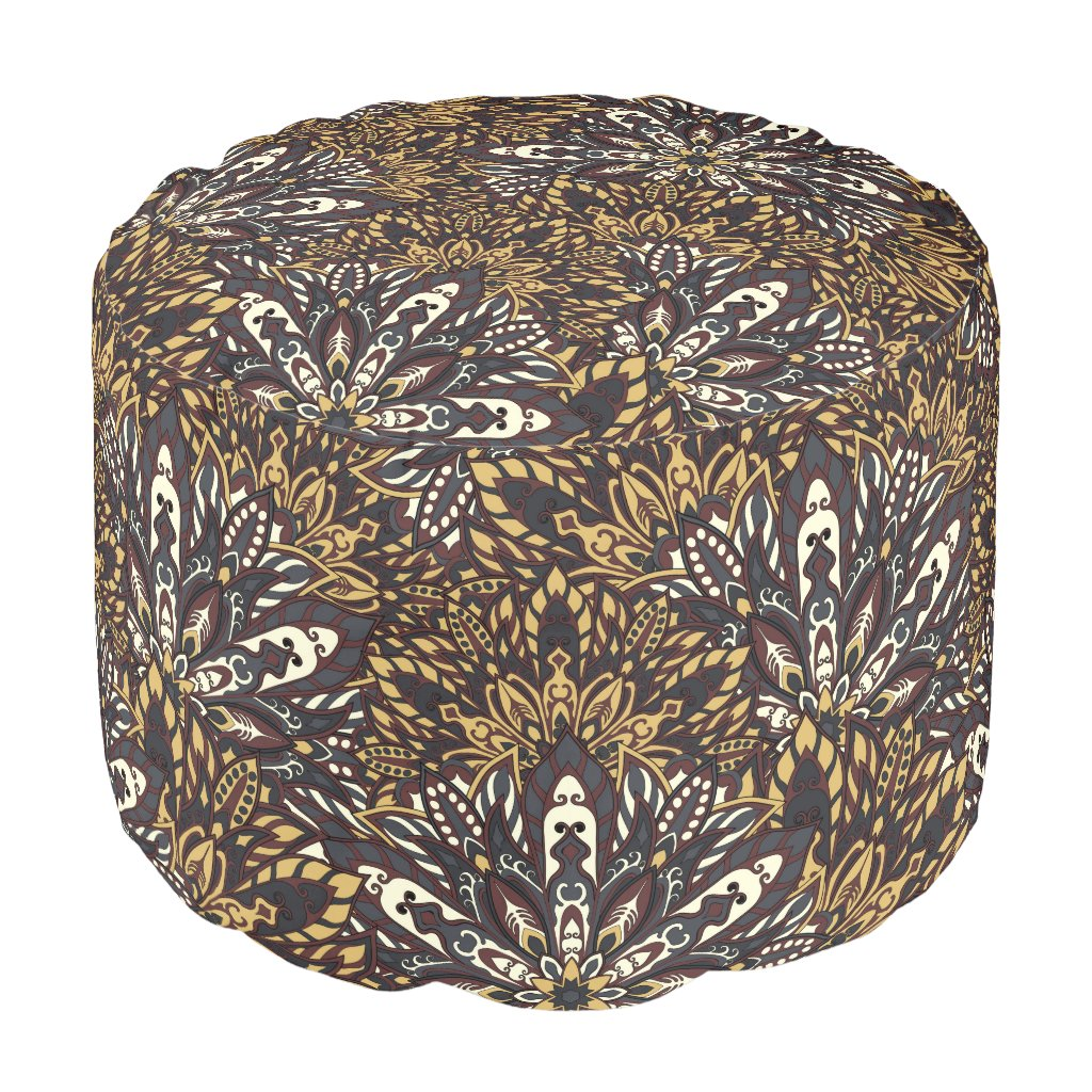 Brown mandala pattern pouf