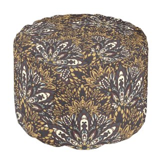 Brown mandala pattern pouf