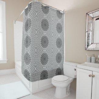 Brown Mandala Wheel in Grey Shower Curtain