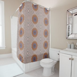 Brown Mandala Wheel Shower Curtain