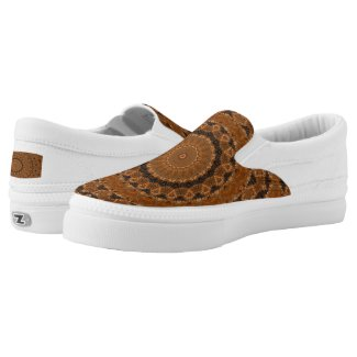 Brown Mandala Wheel... Slip-On Sneakers