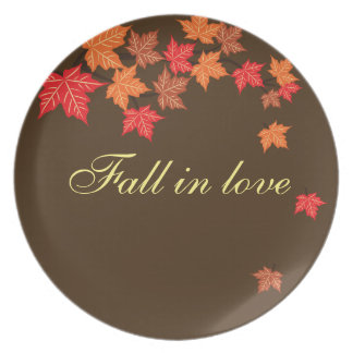 Brown Maple Leaf Falling Personalized Plate Design