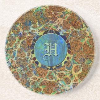 Brown Marble Custom Monogramed Coaster Coasters