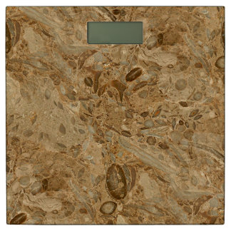Brown Marble Fossil Look Bathroom Scale