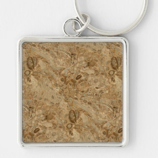 Brown Marble Fossil Look Keychain