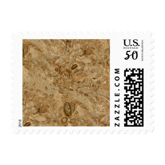 Brown Marble Fossil Look Postage