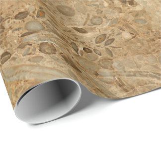 Brown Marble Fossil Look Wrapping Paper