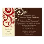 Brown/marfil/invitaciones reversas rojas del boda invitación