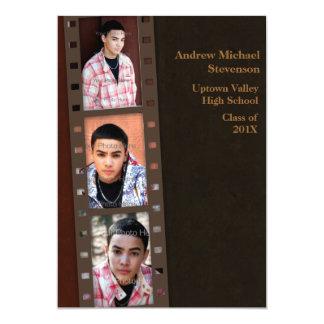 Brown, Maroon Color Block Grad Photo Card Personalized Invite
