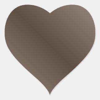 Brown marrón claro y oscuro de la pendiente pegatina en forma de corazón