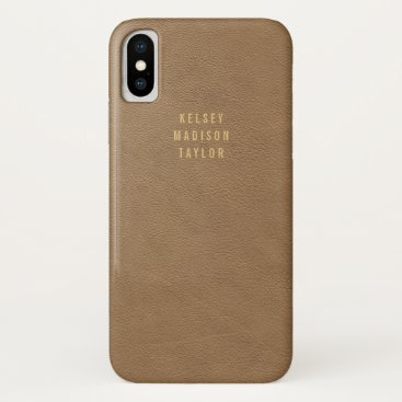 Brown Masculine Leather Look with Children's Names iPhone XS Case