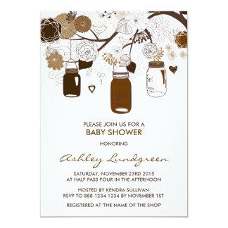 Brown Mason Jars Fall Baby Shower Invitation