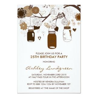 Brown Mason Jars Fall Birthday Party Invitation
