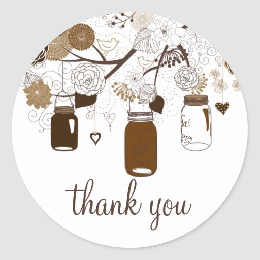 Brown Mason Jars & Flowers Fall Thank You Sticker