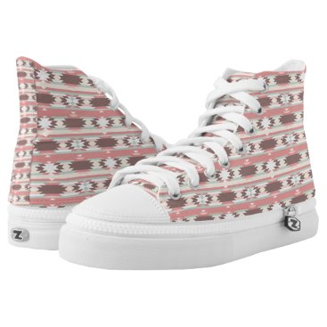 Aztec Themed Brown, Mauve & Green Aztec Pattern High Top Shoes