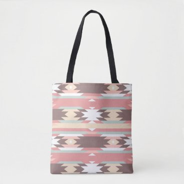 Aztec Themed Brown, Mauve & Green Aztec Patterned Tote Bag