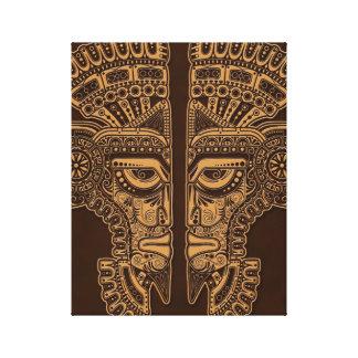 Brown Mayan Twins Mask Illusion Canvas Print
